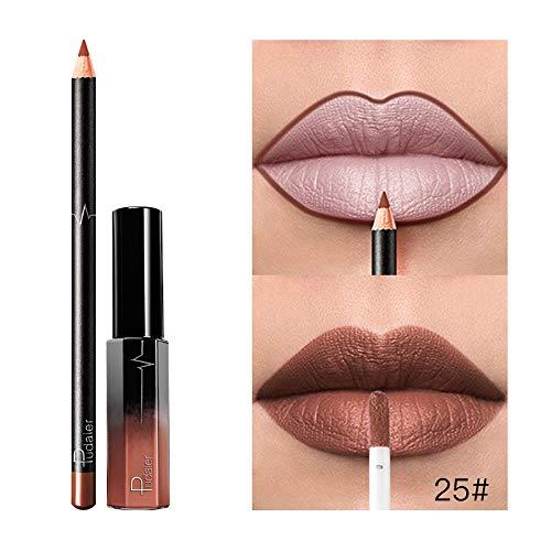 Orcbee  _Long Lasting Lipstick Waterproof Matte Liquid Gloss Lip Liner Cosmetics Set (G)