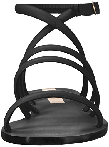 Diamantina KAANAS Leather Women's Flat Black Sandal Strappy xx15a