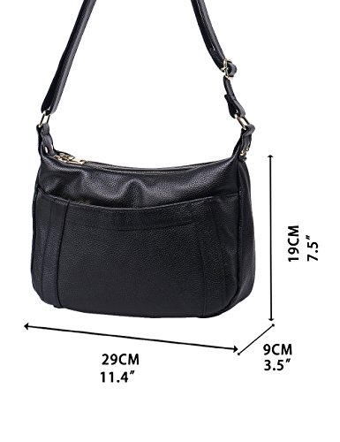 Womens body Leather 336 Black Black Cross Shoulder Genuine Travel OxrqO4Rw