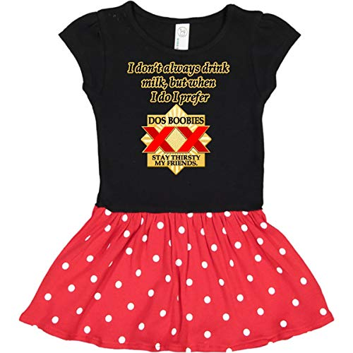 inktastic - Dos Boobies Funny Toddler Dress 3T Black & Red with Polka Dots -