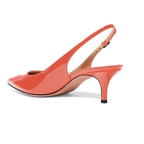Toe Mittlerer Heel Absatz 6 Pumps Spitze EDEFS Slingback Kitten Schuhe Damen Pointed 5cm T8BxWqPA
