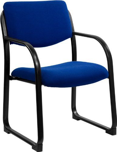 Flash Furniture Navy Fabric Executive Side Reception Chair with Sled Base by Flash Furniture