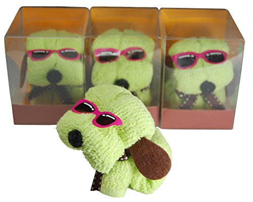 Puppy-shaped Cotton Face/Hand Towels/Washcloths Gift Package (Green, 12