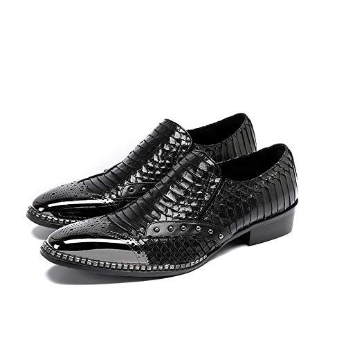Zapatos del 2 Negocio los la 42 Vendimia de Negro tamaño Hombres Dedo Cuero Plano Zapatos del Chlyuan para Hombres de EU 3 Creativo de pie Antideslizante los de Creativa 8FBPanU