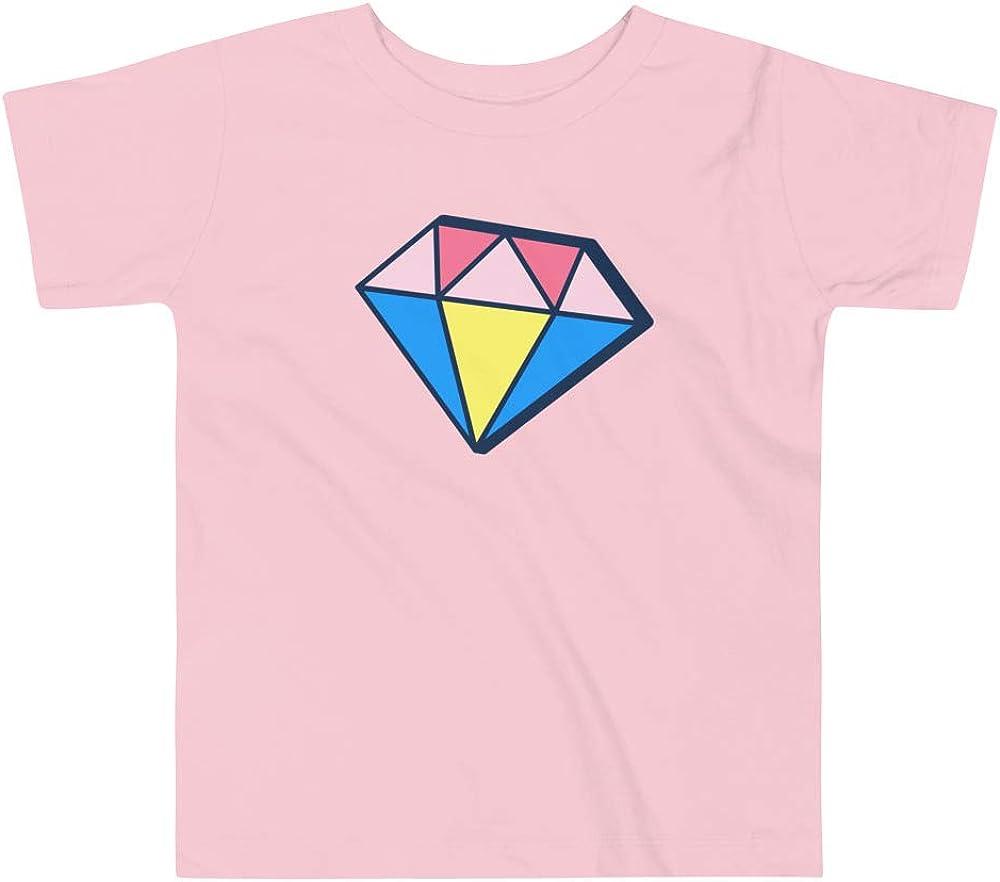 Rainbow Diamond Jewel Girls Toddler Short Sleeve Tee