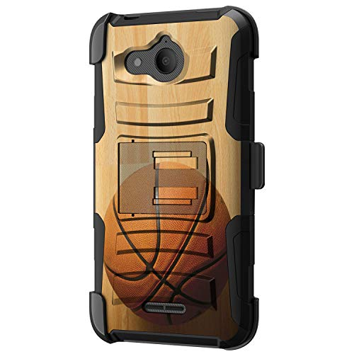 TurtleArmor | Compatible with Alcatel Tetra Case | 5041C [Hyper Shock] Armor Hybrid Cover Kickstand Impact Holster Belt Clip Sports and Games - Hardwood Basketball ()