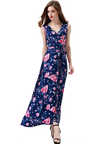 Dress Maxi Floral Silk (Melynnco Women's Floral Sleeveless Faux Wrap V Neck Long Summer Maxi Dress Small Navy)