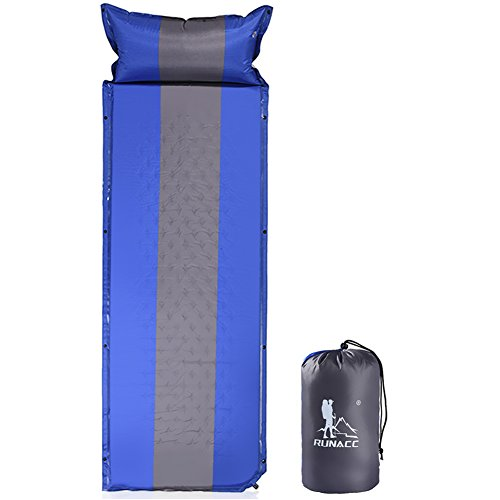 RUNACC Sleeping Pad Self Inflating Mattress Camping Foam Pad with Attached Pillow for Family Activities Hiking Backpacking Tent Hammock, Button Combination -