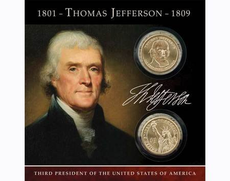 2007 Thomas Jefferson Coins of America $1 dollar both P and D Uncirculated