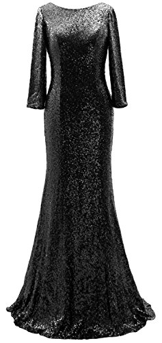 Elegant Dress Mother of Sequin Schwarz Evening Gown Sleeves MACloth Long the 3 4 Bride BqxW6v
