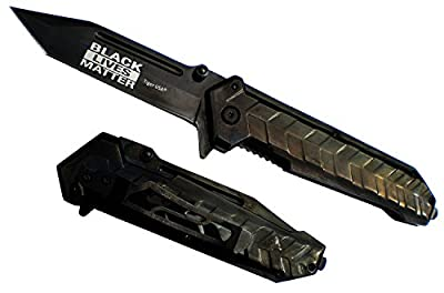 "9"" BLACK HEAVY DUTY Tanto Blade BLACK LIVES MATTER Pocket Knife Weighs 10 Ounces LIMITED EDITION"