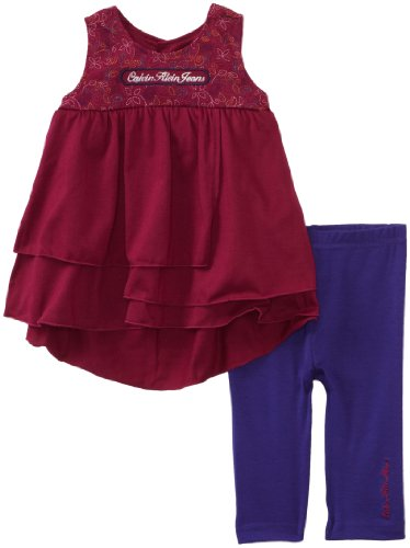 Calvin Klein Baby Girls' Capri Cotton Top With Pull On Pant Set