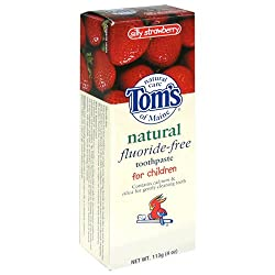 Tom's of Maine Natural Fluoride-Free Toothpaste for Children, Silly Strawberry, 4-Ounce Tube