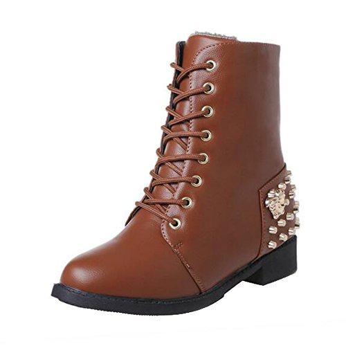 ANDAY Vintage Rivet PU Leather Womens Ankle Warm Boots Martin Flats Boots Brown 71LcKcc