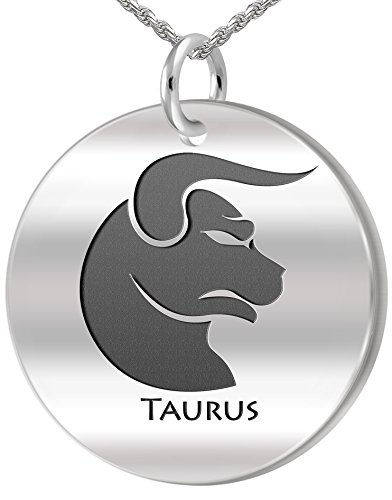 0.925 Sterling Silver 1in Taurus Bull April & May Zodiac Pendant 3.3mm Cable Necklace, 18in - Venus Cable Pendant