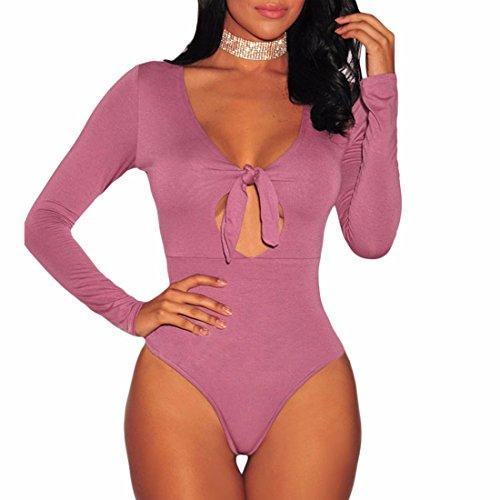 Paixpays Women Long Sleeve Fit Shirts Blouse Low-Cut V Neck Jumpsuits Bodysuit