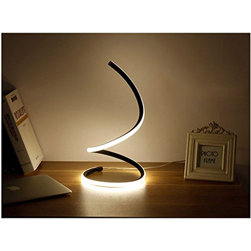 LOFAMI Art Creative Fashion Led Bedroom Bedside Lamp, Work Study Eye Lamp, Simple Modern Living Room Hotel Decoration Table Lamp (Color : Black White Light) by LOFAMI (Image #3)