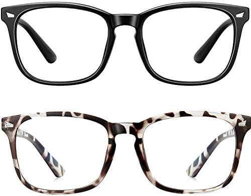Blue Light Blocking Glasses Square Computer Glasses Women/Men, Nerd Reading Gaming Glasses Non Prescription (Black+Bean Flower)