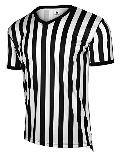 FitsT4 Men's Official Black & White Stripe Referee Shirt/Zipper Umpire Jerseys/Pro Ref Uniform for Soccer, Basketball & Football