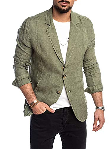 Mens Linen Suit Blazer Lightweight Three-Buttons Casual Solid Tailored Fit Sport Jacket ()
