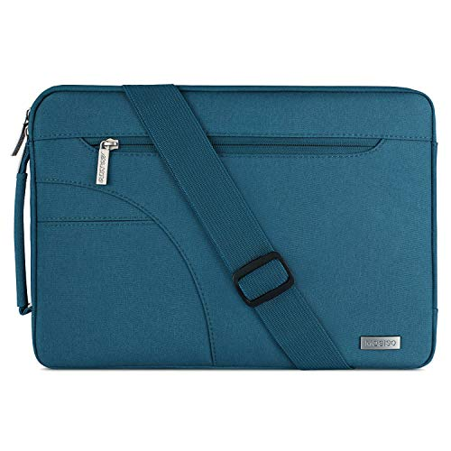 MOSISO Laptop Shoulder Bag Compatible 13-13.3 Inch MacBook Pro, MacBook Air, Notebook Computer, Ultraportable Protective Polyester Carrying Handbag Briefcase Sleeve Case Cover, Deep Teal