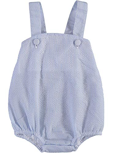 - Baby Boy Sleeveless Sunsuit in Light Blue and White Pinstripe Seersucker
