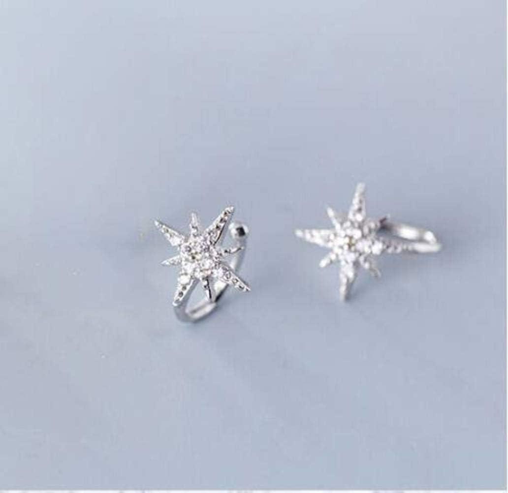 WOZUIMEI S925 Clip de Oreja de Estrella de Plata Femenina Estilo Literario Coreano Tachonado de Diamantes Luz Dulce sin Pendientes de Temperamento Perforadoplata