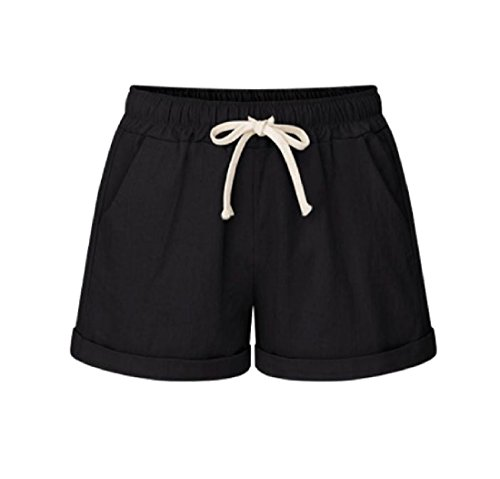 Doufine Women's Plus Size Casual Summer Palazzo Casual Pants Drawstring Shorts Black 2XL by DoufineWomen (Image #1)
