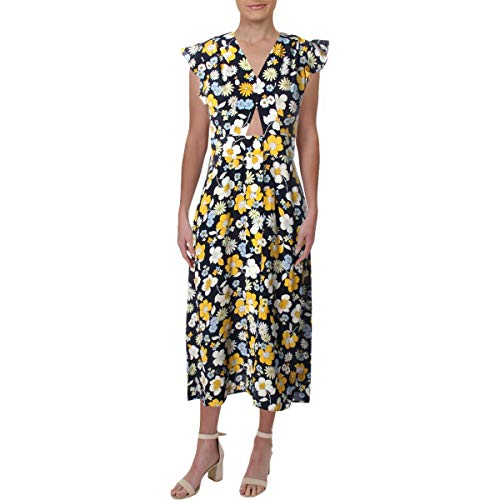 Juicy Couture Women#039s Silk Garden Floral Midi Dress