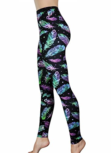 - Comfy Yoga Pants - High Waisted Yoga Leggings with Bohemian Print - Extra Soft - Dry Fit (Rainbow Feathers, One Size)