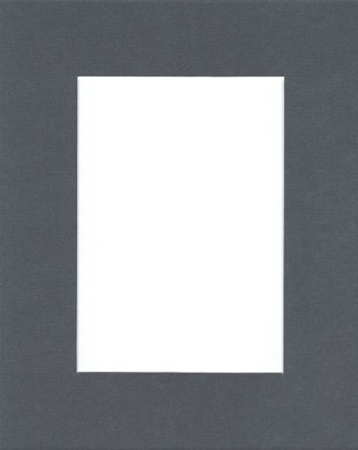 20x24 Slate Grey Picture Mats with White Core Beve...