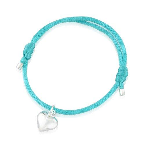 Coeur en argent fin, en relief, sur cordon en soie bleu turquoise
