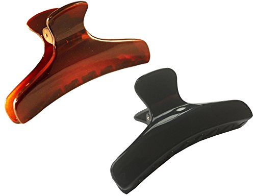 Parcelona French Salon Style Flat Set of 2 Small Tortoise Shell Brown and Black Narrow Jaw Hair Claw Clip Clutcher Clamp
