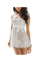 EVAbaby Women Sexy Lingerie Sheer Transparent Lace Babydoll Dress Sleepwear Underwear