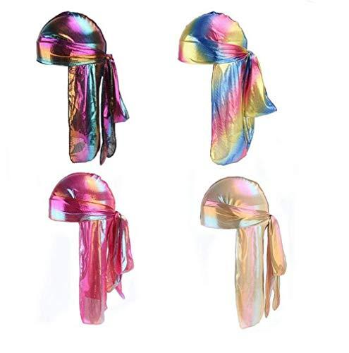 - 4Pack Holographic Silk Durag Rainbow Silky Wave NBA Cool Durag for Men Women