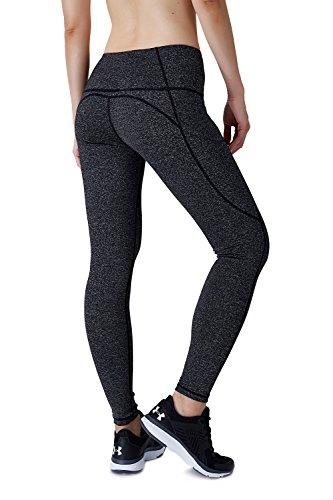 Dyorigin Leggings for Women – High-Waisted Tummy Control Compression Yoga Leggings Athletic Pants with Pockets (Heathered Black XS) by Dyorigin (Image #3)