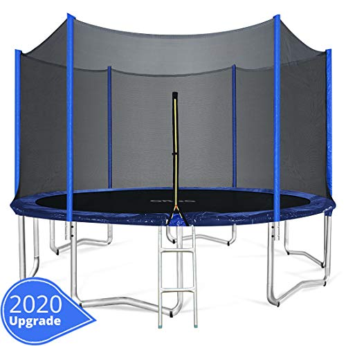 ORCC 15 14 12 10FT Kids Trampoline, T V Certificated Yard Trampoline with Enclosure Net Jumping Mat Spring Pad Wind Stakes Rain Cover and Pull T-Hook, Best Gift for Kids