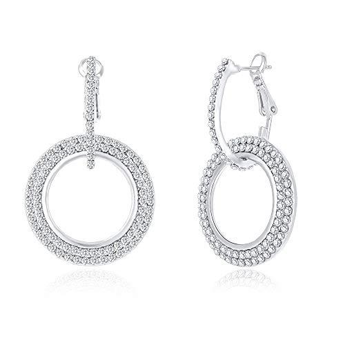 Dangle Earrings for Women Girls Silver Hoop Earrings Classic Crystal Rhinestone Drop Earrings Pierced Austrian Style Hypoallergenic Earrings Womens Bridal Jewelry