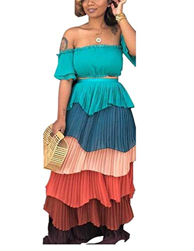 Women's Girls Two Pieces Outfits Printing Wrapped Crop Tank Top Shirts + Swing Cake Skirt Set Chiffon Party Club Maxi Layered Dress Green - Dress Set Chiffon