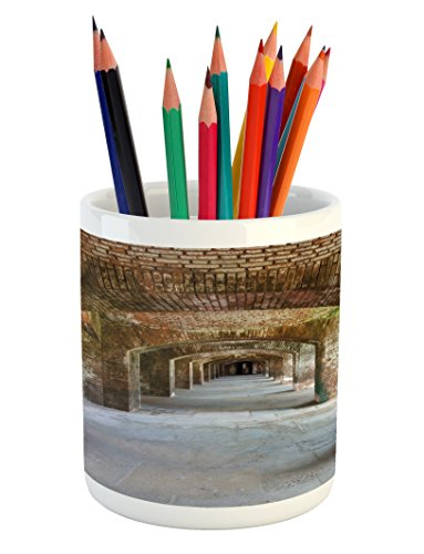 Ambesonne Vintage Pencil Pen Holder, Brick Arches Dry Tortug