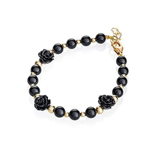 Crystal Dream Black Flower with Gold Filled Bead Spring Keepsake Preemie Girl Bracelet (B1725_S+)