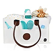 Diaper Caddy Organizer: New Baby Basket Storage Tote | Nursery Changing Table Organizer & Portable Diaper Holder | Great Car Caddy | Premium White Cloth Fabric | Bonus Baby Change Mat Included