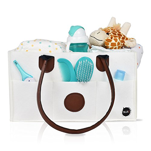 Diaper Caddy Organizer: New Baby Closet Organizer | Nursery Changing Table Nappy Stacker & Portable Diaper Holder | Great Car Caddy | Premium White Cloth Fabric | Bonus Baby Change Mat Included by TRIJAX