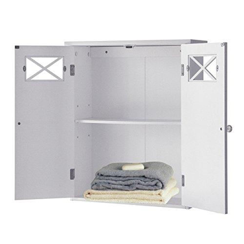Elegant Home Fashions Dawson Collection Shelved Wall Cabinet, White - smallkitchenideas.us