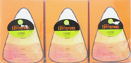 Gartner Candy Corn Write-In Invitations Kit Set Of 3-12ct. Each 36 Total (12 Ct Invitation Kit)