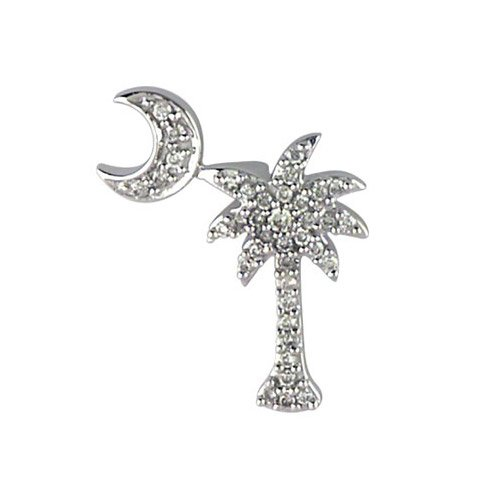 t Diamond Palm Tree and Crescent Moon Pendant with 18