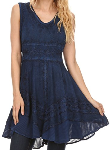 Sakkas 161111 - Jaydence Short Floral Embroidered Deep Neck Tank Top Sleeveless Batik Dress - Navy - 1X/2X