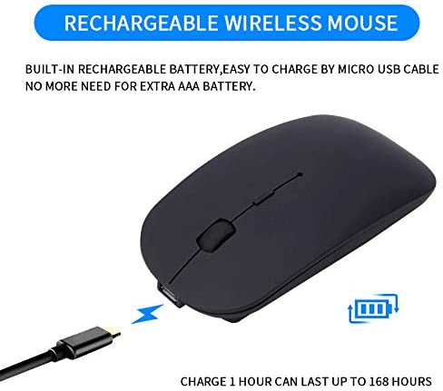 2.4GHz and Bluetooth 4.0 Portable Wireless Mouse with/ Silent Click Noiseless for Notebook PC Mac Rechargeable Dual Mode Slim Wireless Mouse Windows Laptop Android Black Computer