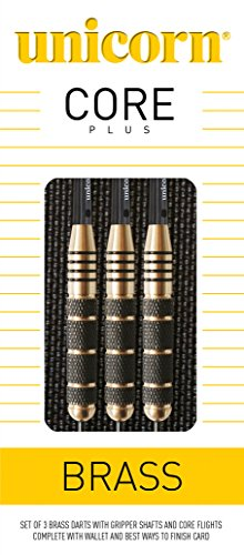 (PerfectDarts 27g Unicorn CORE Plus Brass Darts Set)