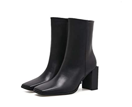 390765c044ee 8cm Chunkly Heel Tall Bootie Chelsea Boot Wedding Shoes Women Handsome  Square Toe Zipper Martin Boots